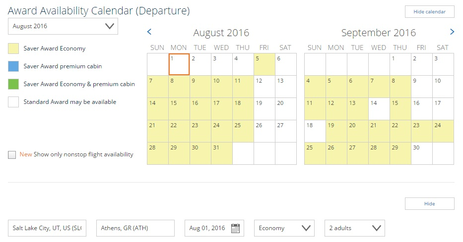 Salt Lake City to Athens, Greece Availability for Summer 2016