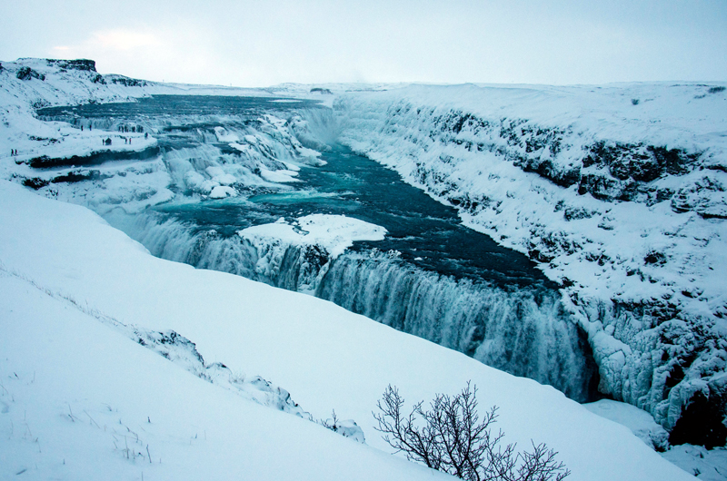 Gullfoss Waterfall, located in the Golden Circle, is one of the most popular tourist attractions in Iceland.