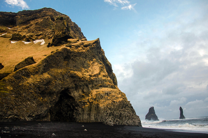 The world-famous black-sand Reynisfjara beach is near the village of Vík in southern Iceland.