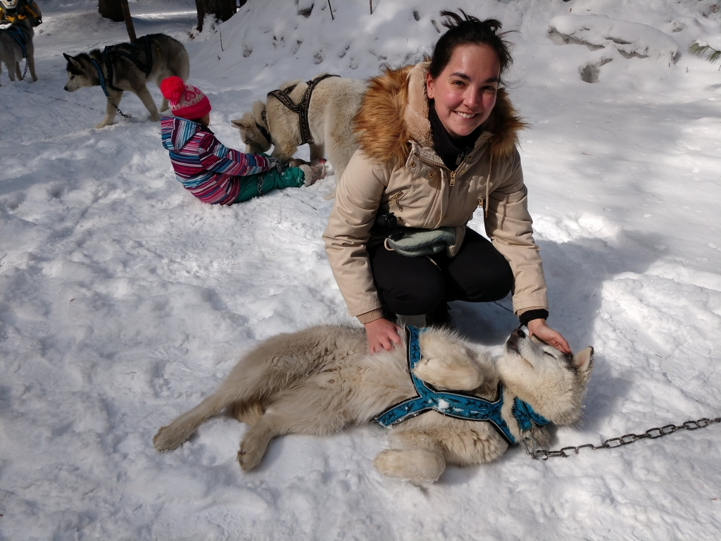 Caroline with a Siberian Husky in Siberia